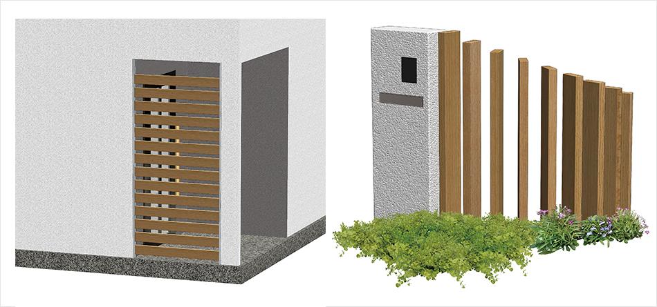 彩木の使用例玄関